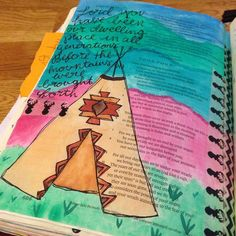Lord you have been our dwelling place... {psalm 90:1-2} probably my favorite teepee that ive done #biblejournaling #biblejournalingcommunity #illustratedfaith by mm_illustrated