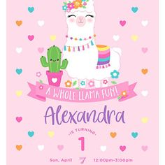 Birthday Party Invitations Free, First Birthday Party Themes, 1st Birthday Girls, Llama Birthday, Flamingo Birthday, Llamas, Fiesta Party, Birthday Images, Your Cards