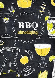 Leuke uitnodiging voor een barbecue of tuinfeest, met tekeningen van vlees, groente, bier en lekkere drankjes, verkrijgbaar bij #kaartje2go voor €1,89