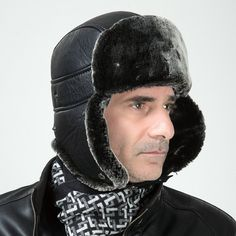 High Quality PU Leather Faux Rabbit Fur Bomber Hat Mens Fashion Winter  Earflap Trapper Hat Russian Snow Cap Gorras Chapeu-in Bomber Hats from  Men s Clothing ... ab8a5a3e1c52