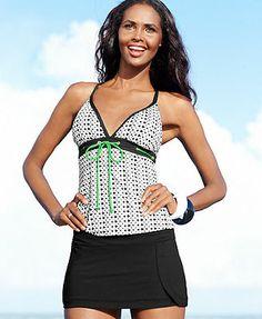 JAG Geo-Print Crisscross Tankini Top & Swim Skirt