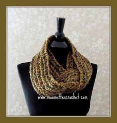 Crochet Infinity Scarf Soft Warm Brown Lightweight Chunky Cowl Neckwarmer Vintage Inspired Colors Blue Olive Green Handmade in USA