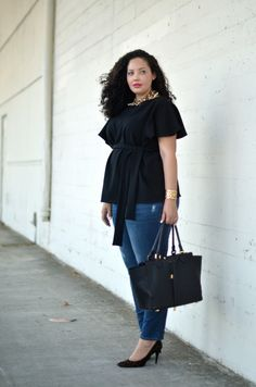 |WEARING| Asos Top (similar here, here & maternity options here), Asos Necklace, Tory Burch Cuff (similar here), Old Navy Maternity Jeans (non-maternit