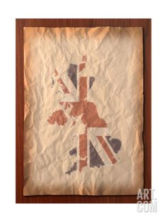 Vintage Uk Map On Paper Craft Print by vichie81 at Art.com