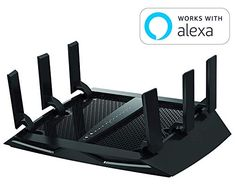 Netgear (R7800-100NAS) Nighthawk X4S AC2600 4x4 Dual Band Smart WiFi Router, Gigabit Ethernet, MU-MIMO, Compatible with Amazon Echo/Alexa Best Gaming Router, Wifi Router, Alexa Echo, Thing 1, Alexa Voice, Wireless Security, Home Network, Works With Alexa, Electronic Devices