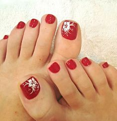 The Most Popular Nail Shapes – NaiLovely Pretty Toe Nails, Cute Toe Nails, Pretty Toes, Toe Nail Color, Toe Nail Art, Toenail Art Designs, Toe Nail Flower Designs, Red Toenails, Summer Toe Nails