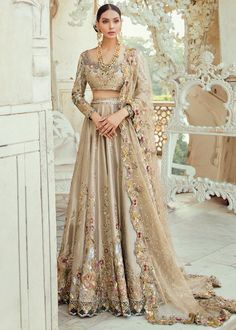 Pakistani Bridal Lehnga Choli in Gold Color with Magnificent Look emblazoned with beautiful embroidery work. Buy Pakistani Lehnga Choli in USA Online. Pakistani Wedding Outfits, Indian Bridal Wear, Pakistani Wedding Dresses, Bridal Outfits, Indian Dresses, Indian Outfits, Pakistani Bridal Lehenga, Asian Bridal Dresses, Lehenga Wedding