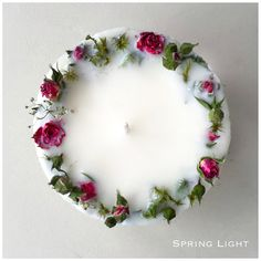 SPRING LIGHT offers you unique handcrafted masterpieces. Every candle is made with love in LATVIA using a 100 soy wax, natural flowers, pure cotton wick, premi Homemade Candles, Diy Candles, Soy Wax Candles, Scented Candles, Garden Candles, Unique Candles, Candle Art, Rose Candle, Handcrafted Christmas Ornaments