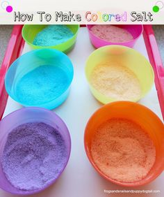 How To Make Colored Salt for kid arts/crafts and play activities by FSPDT