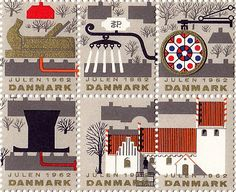Vintage danish 1962 christmas stamps designed by Erik Petersen Postage Stamp Design, Art Postal, Danish Christmas, Seal Design, Love Stamps, Vintage Stamps, Tampons, Stamp Collecting, Mail Art