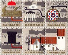 Danish Christmas stamps; designed in 1962 by Erik Petersen