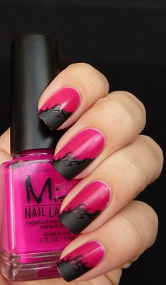 AllYouDesire: Pink, matte black tips, and stamping. Great combo!