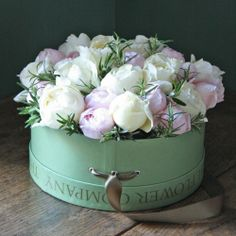 ♕ so pretty ~ roses in a hatbox