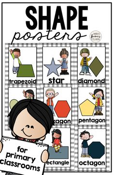 Makes a sweet bulletin board display and a great visual reference for students who need support for shapes and shape words. First Grade Classroom, Primary Classroom, Classroom Setup, Classroom Organization, 1st Grade Activities, Kindergarten Math Activities, Fun Learning, Learning Activities, Shape Posters