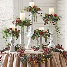 Winter Berry Candle Rings, Set of Five Artificial fir tree as Christmas decoration? A synthetic Christmas Tree or perhaps a real one? Christmas Mantels, Christmas Door, Outdoor Christmas, Christmas Wreaths, Christmas Ornaments, Christmas Fireplace Decorations, Elegant Christmas, Christmas Ideas, Christmas Snowman