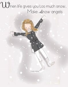 Snow Angels Snow Art Winter Art Love by RoseHillDesignStudio