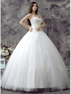 Strapless Applique Pleats Ball Gown Wedding Dress & simple Wedding Dresses