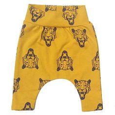 Baby harem pants with tiger head mustard yellow organic by HeyBBnl