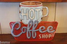 ~Vintage Neon Style~ HOT COFFEE SHOP Embossed Distressed Metal Cafe Diner Sign
