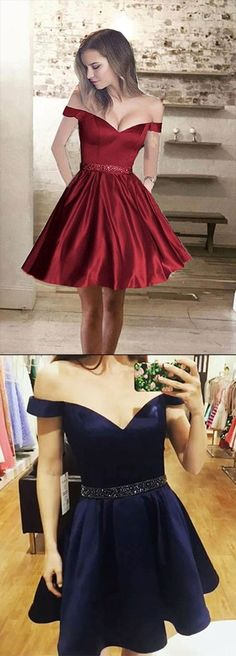 A line Off Shoulder Homecoming Dress,Satin Cheap Short Prom Dresses,Cheap Homecoming Dresses,Party Dresses,Prom Dress for Teens,Graduation Dress for Girls