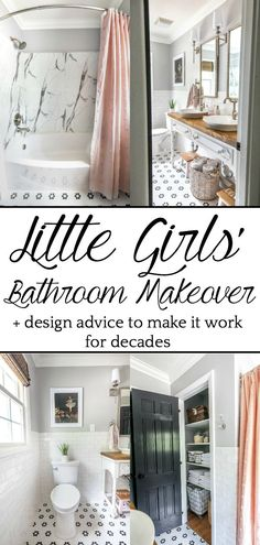 Little Girls Bathroom Makeover | A dated bathroom gets a classical, whimsical renovation with modern features well-suited for children. #bathroom #homeimprovement
