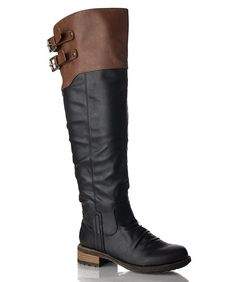 Women's Vegan Leatherette Double Buckle Two Tone Stacked Heel Knee High Boot >>> You can get additional details at the image link.
