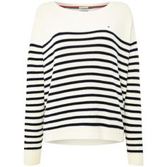 Tommy Hilfiger 10 Basic Stripe Sweater ($94) ❤ liked on Polyvore featuring tops, sweaters, cream, women, striped top, tommy hilfiger, nautical sweater, white top and white striped sweater
