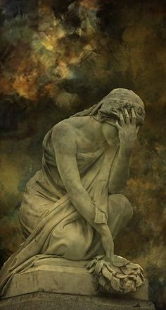 Olivet Cemetery in Nashville, TN. A beautiful, old cemetery. weeping woman statue, head down in hand, Cemetery Angels, Cemetery Statues, Angel Statues, Cemetery Art, Statue Ange, Old Cemeteries, Graveyards, Steinmetz, Art Plastique
