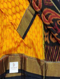 Mango yellow Pochampally Silk Cotton saree with zari Border Black pallu & Blouse