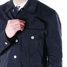 Ten-C Jeans Jacket Navy/Black