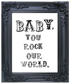 Baby You Rock Our World retro wall nursery: