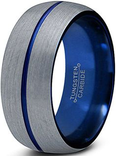 Chroma Color Collection Tungsten Wedding Band Ring 8mm for Men Women Blue Grey Domed Brushed