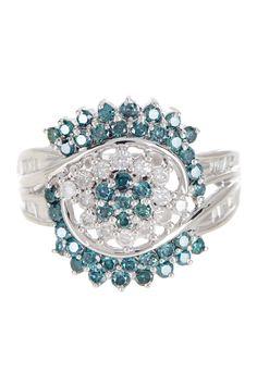 Blue & White Diamond Cluster Ring - 1.30 ctw