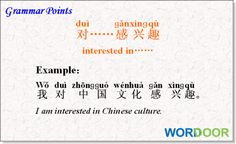 Wordoor Chinese - Grammar points # What are you interested in?