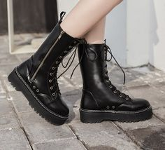 Lace Up Zipper Round Toe Boots_Boots_WHOLESALE SHOES_Wholesale clothing, Wholesale Clothes Online From China