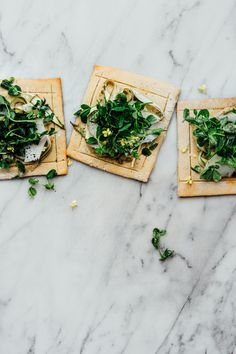 Lindsey's Chickpea Pizza with Asparagus and Pea Shoot Tangle