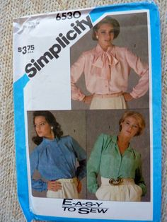 3 Collar Blouse Pattern  Size 14 Bust 36 by BonniesVintageAttic, $8.00