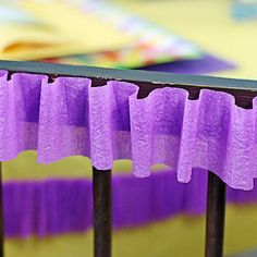 Crepe Table Ruffle (: Embellish chair backs with a simple ruffle made with crepe paper streamers. Crepe Paper Decorations, Streamer Decorations, Diy Party Decorations, Decorating With Streamers, Crepe Paper Streamers, Party Streamers, Day Of Dead Tattoo, Cool Easter Eggs, Diy Birthday