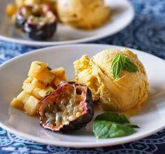 Makuja kotoa: Tropiikki jäätelökulhossa #mango #passionhedelmä #jäätelö