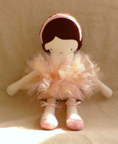 Handmade Pink Ballerina Fabric Doll with Brown Hair Ballerina Doll, Little Ballerina, Fabric Dolls, Rag Dolls, Felt Headband, Doll Maker, Boy Doll, Doll Clothes Patterns, Stuffed Toys Patterns
