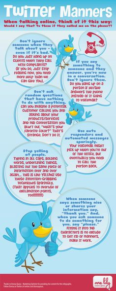 "Twitter Manners - When Talking Online, Think Of It This Way - ""Would I Say That To Them If They Called Me On The Phone??"" #infographic"