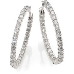 Roberto Coin Diamond & 18K White Gold Hoop Earrings- 1.2in ($6,980) ❤ liked on Polyvore featuring jewelry, earrings, silver, diamond earrings, white gold diamond jewelry, white gold jewellery, roberto coin earrings and diamond jewelry