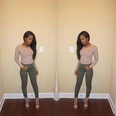 """Kendra Murrell on Instagram: """"Nudes & Olive ✨ Shoes & Jeans from @fashionnova use code XOGLAMTWINZ for 15% off. #fashionnova #OOTN #simple #dontknowwhatimlookingat"""""""