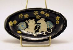 Handmade SGRAFFIT0 Pottery Dish DANCING MICE  Carved Tray