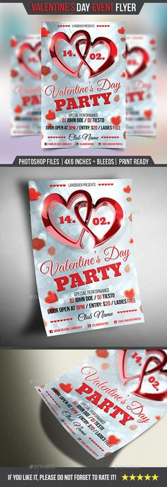 Valentine's Day - Love Event Flyer Template PSD #design Download: http://graphicriver.net/item/valentines-day-love-event-flyer/14352376?ref=ksioks