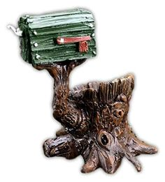 The Shingletown mailbox comes with a tree stump where fairies and gnomes can sit on it when they read and check for letters. It's definitely a whimsical and functional addition. Mailbox Accessories, Fairy Garden Accessories, Mailbox Garden, Garden Drawing, Garden Items, Miniature Fairy Gardens, Fairy Houses, Gnomes, Outdoor Gardens