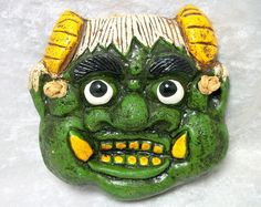 Green Clay Mask Wall Hanging - Gargoyle Face - Asian