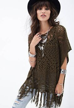 Open-Knit Fringed Poncho | FOREVER21 - 2000083847