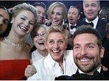 Ellen DeGeneres snaps selfie with stars Jennifer Lawrence, Bradley Cooper and Meryl Streep (using her Oscars sponsor Samsung Galaxy phone)