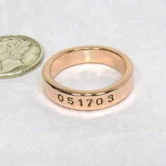 A lasting sturdy copper ring worn plain or inscribed with a simple message of your accomplishment, names, dates or a short phrase. The ring